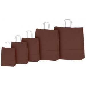 Bolsas de papel marron chocolate 25+11x24