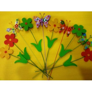 Picks con flores y mariposas